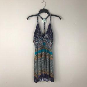 Sky Blue Multi color print knit mini dress size M